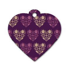 Purple Hearts Seamless Pattern Dog Tag Heart (two Sides)