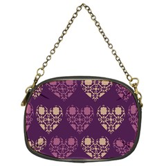 Purple Hearts Seamless Pattern Chain Purses (one Side)