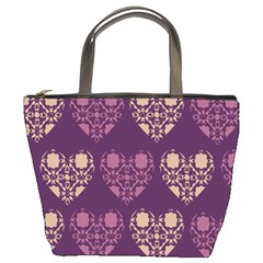 Purple Hearts Seamless Pattern Bucket Bags