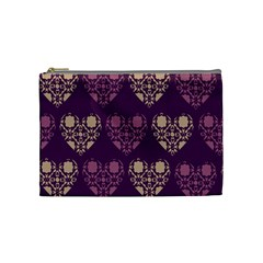 Purple Hearts Seamless Pattern Cosmetic Bag (Medium)