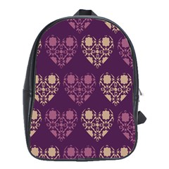 Purple Hearts Seamless Pattern School Bags(Large)