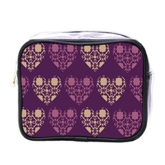 Purple Hearts Seamless Pattern Mini Toiletries Bags