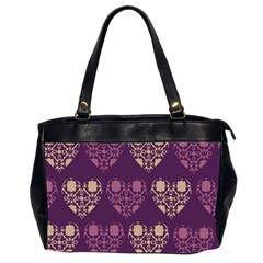 Purple Hearts Seamless Pattern Office Handbags (2 Sides)