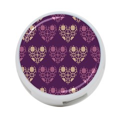 Purple Hearts Seamless Pattern 4-Port USB Hub (Two Sides)