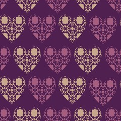 Purple Hearts Seamless Pattern Magic Photo Cubes