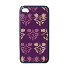 Purple Hearts Seamless Pattern Apple iPhone 4 Case (Black)