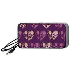 Purple Hearts Seamless Pattern Portable Speaker (Black)