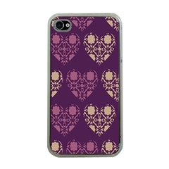 Purple Hearts Seamless Pattern Apple iPhone 4 Case (Clear)