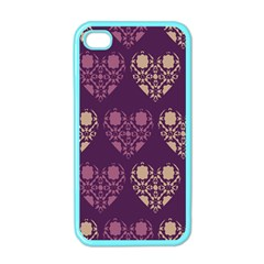 Purple Hearts Seamless Pattern Apple iPhone 4 Case (Color)