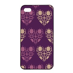 Purple Hearts Seamless Pattern Apple Iphone 4/4s Seamless Case (black)