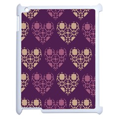 Purple Hearts Seamless Pattern Apple iPad 2 Case (White)