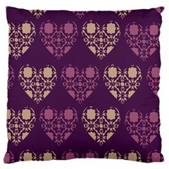 Purple Hearts Seamless Pattern Large Cushion Case (One Side)