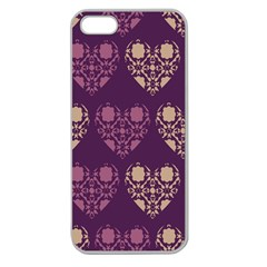 Purple Hearts Seamless Pattern Apple Seamless iPhone 5 Case (Clear)