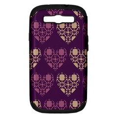 Purple Hearts Seamless Pattern Samsung Galaxy S III Hardshell Case (PC+Silicone)