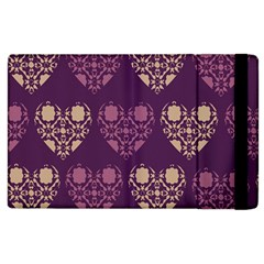 Purple Hearts Seamless Pattern Apple iPad 3/4 Flip Case