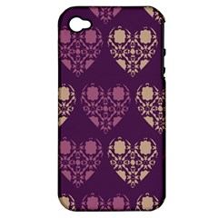 Purple Hearts Seamless Pattern Apple iPhone 4/4S Hardshell Case (PC+Silicone)