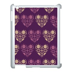 Purple Hearts Seamless Pattern Apple Ipad 3/4 Case (white)