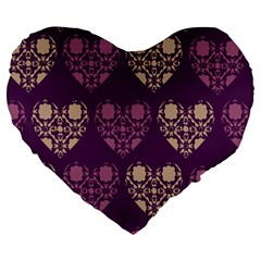 Purple Hearts Seamless Pattern Large 19  Premium Heart Shape Cushions
