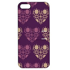 Purple Hearts Seamless Pattern Apple iPhone 5 Hardshell Case with Stand