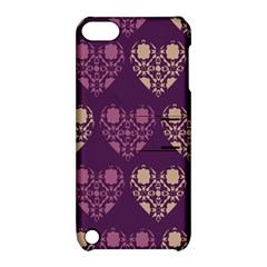 Purple Hearts Seamless Pattern Apple iPod Touch 5 Hardshell Case with Stand