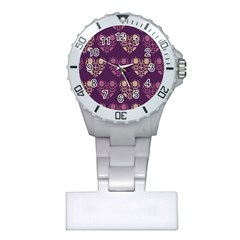 Purple Hearts Seamless Pattern Plastic Nurses Watch