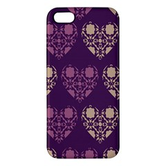 Purple Hearts Seamless Pattern iPhone 5S/ SE Premium Hardshell Case