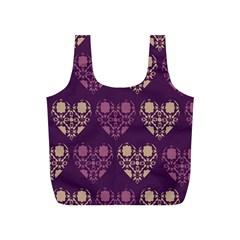 Purple Hearts Seamless Pattern Full Print Recycle Bags (S)