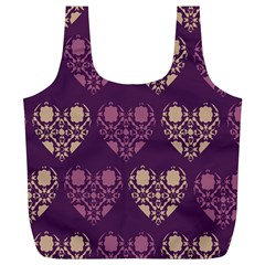 Purple Hearts Seamless Pattern Full Print Recycle Bags (L)