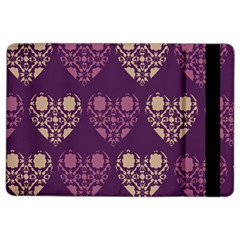 Purple Hearts Seamless Pattern Ipad Air 2 Flip