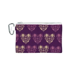 Purple Hearts Seamless Pattern Canvas Cosmetic Bag (s)