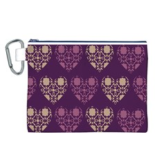 Purple Hearts Seamless Pattern Canvas Cosmetic Bag (L)