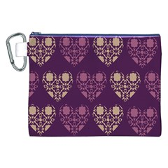 Purple Hearts Seamless Pattern Canvas Cosmetic Bag (XXL)