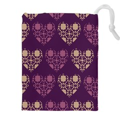 Purple Hearts Seamless Pattern Drawstring Pouches (xxl)