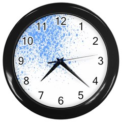 Blue Paint Splats Wall Clocks (Black)