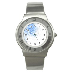 Blue Paint Splats Stainless Steel Watch
