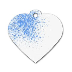 Blue Paint Splats Dog Tag Heart (One Side)