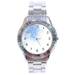 Blue Paint Splats Stainless Steel Analogue Watch