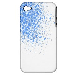 Blue Paint Splats Apple iPhone 4/4S Hardshell Case (PC+Silicone)