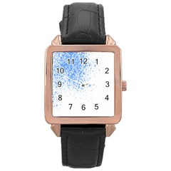Blue Paint Splats Rose Gold Leather Watch