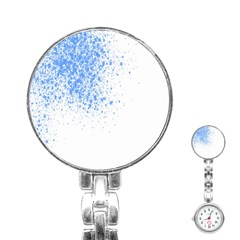 Blue Paint Splats Stainless Steel Nurses Watch