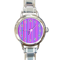 Blue And Pink Stripes Round Italian Charm Watch