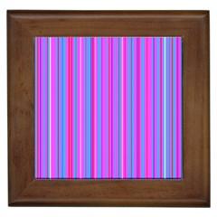 Blue And Pink Stripes Framed Tiles