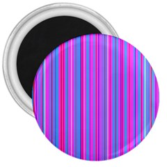 Blue And Pink Stripes 3  Magnets