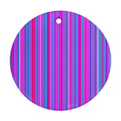 Blue And Pink Stripes Ornament (round)