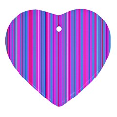 Blue And Pink Stripes Ornament (heart)