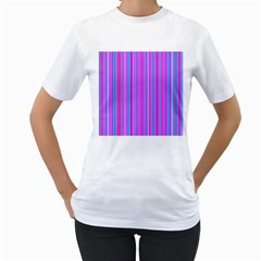 Blue And Pink Stripes Women s T-Shirt (White) (Two Sided)