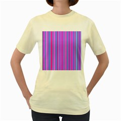 Blue And Pink Stripes Women s Yellow T Shirt