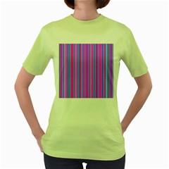 Blue And Pink Stripes Women s Green T-Shirt