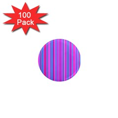 Blue And Pink Stripes 1  Mini Magnets (100 pack)