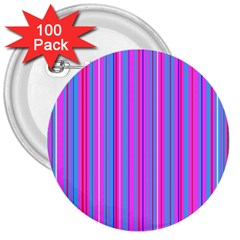 Blue And Pink Stripes 3  Buttons (100 pack)